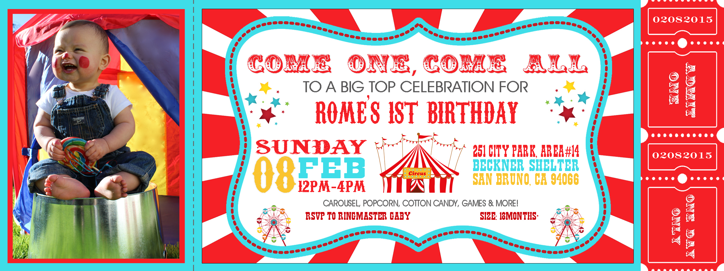 carnival party  inspire her action, Birthday invitations